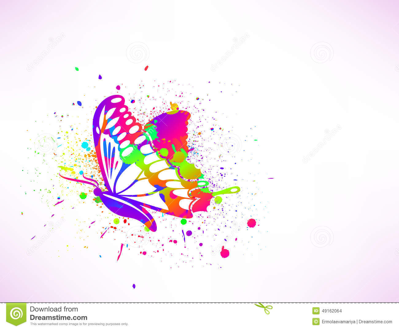 rainbow ink butterfly on white background vector stock