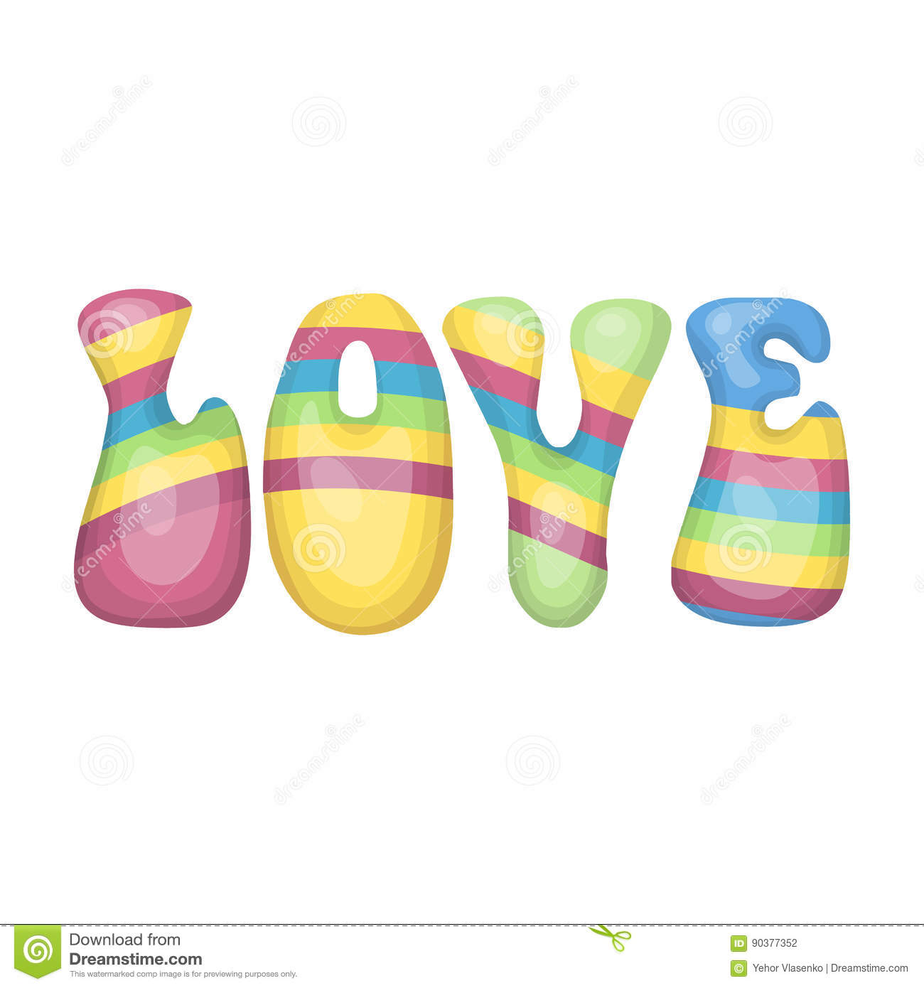 Royalty Free Vector Download Rainbow Inscription Of The Word Love Hippy Single