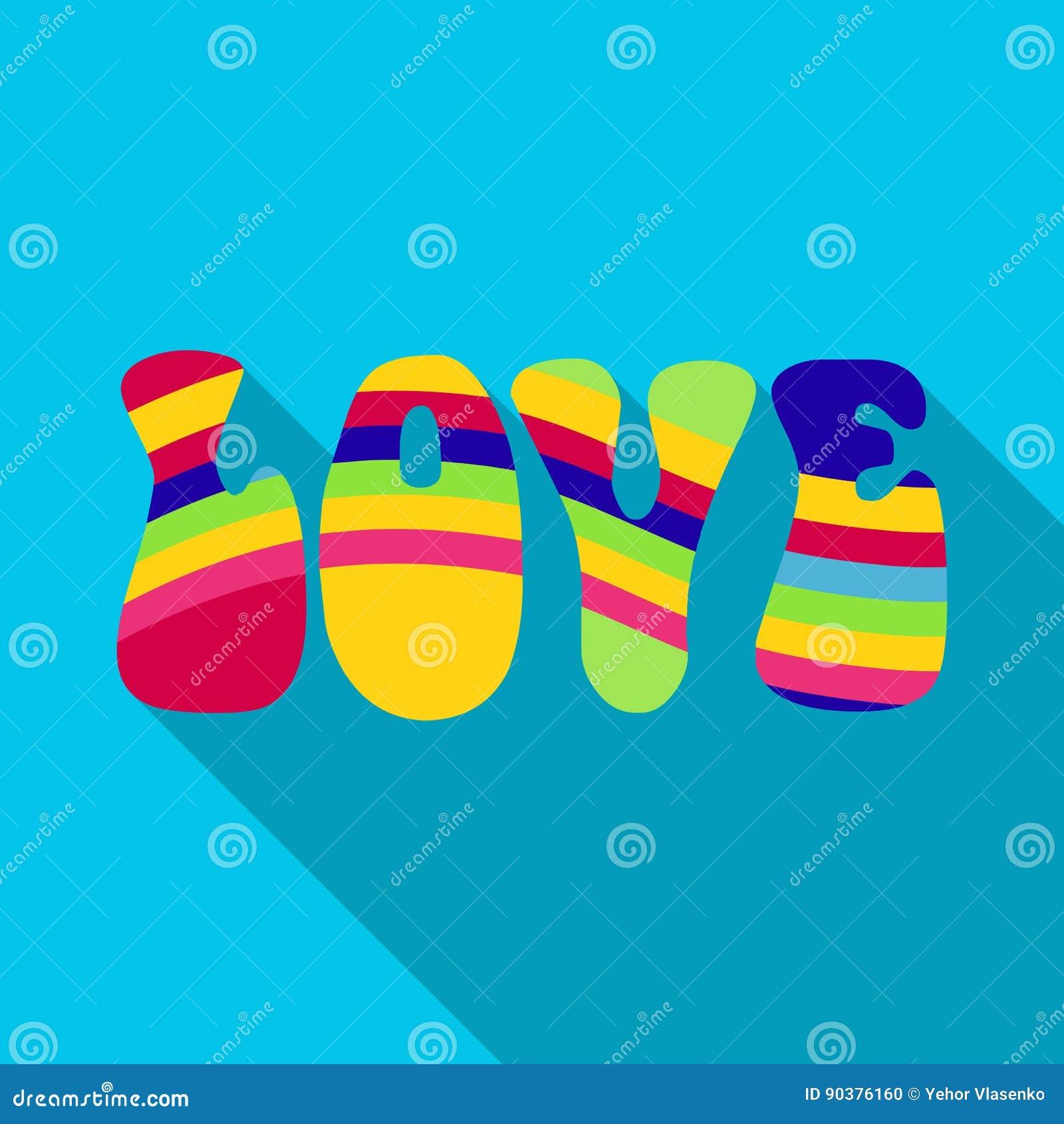 Rainbow inscription of the word lovehippy single icon in flat rainbow inscription of the word lovehippy single icon in flat style vector symbol stock illustration web buycottarizona