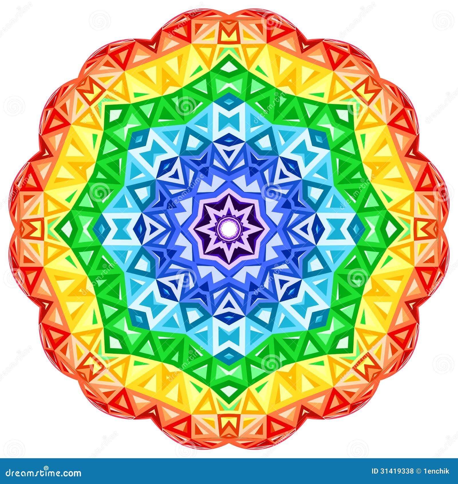 Rainbow Kaleidoscope Vector Vibrant Circle Royalty Free
