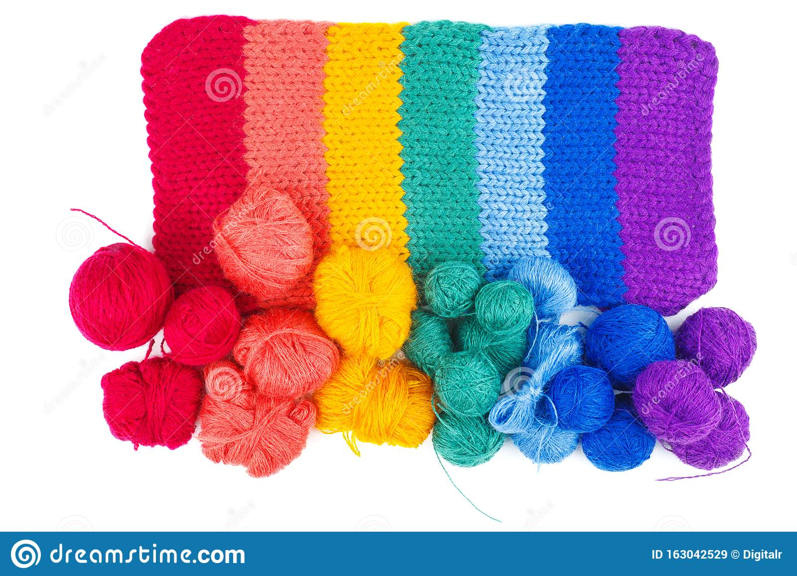 Rainbow Knitted Fabric And Balls Of Wool Thread Isolated On White Background Stock Image Image Of Fabric Balls 163042529