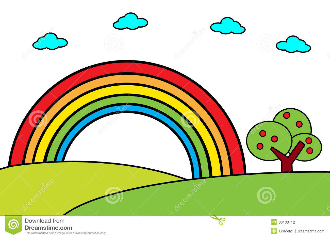 Landscape with rainbow and tree -Vector cartoon illustration.