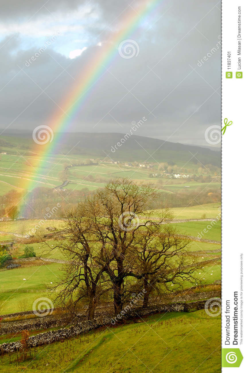 Rainbow landscape in Yorkshire Dales