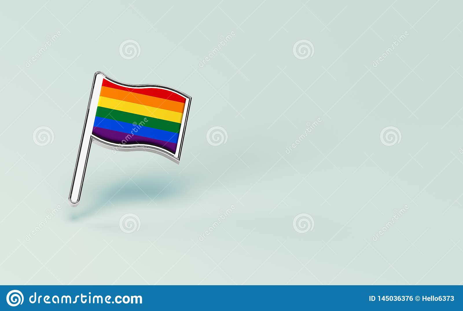 Rainbow LGBTQ flag. Gay pride month symbol concept. Isolated on pastel green background with copy space. 3D rendering
