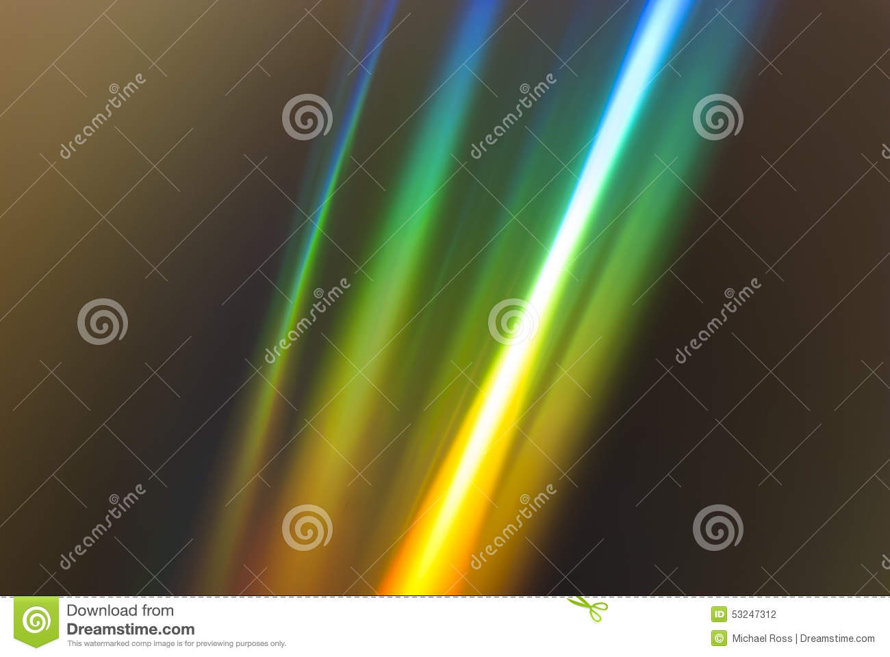 Rainbow Notes On Light Background Stock: Rainbow Light Refraction On A CD Stock Photo