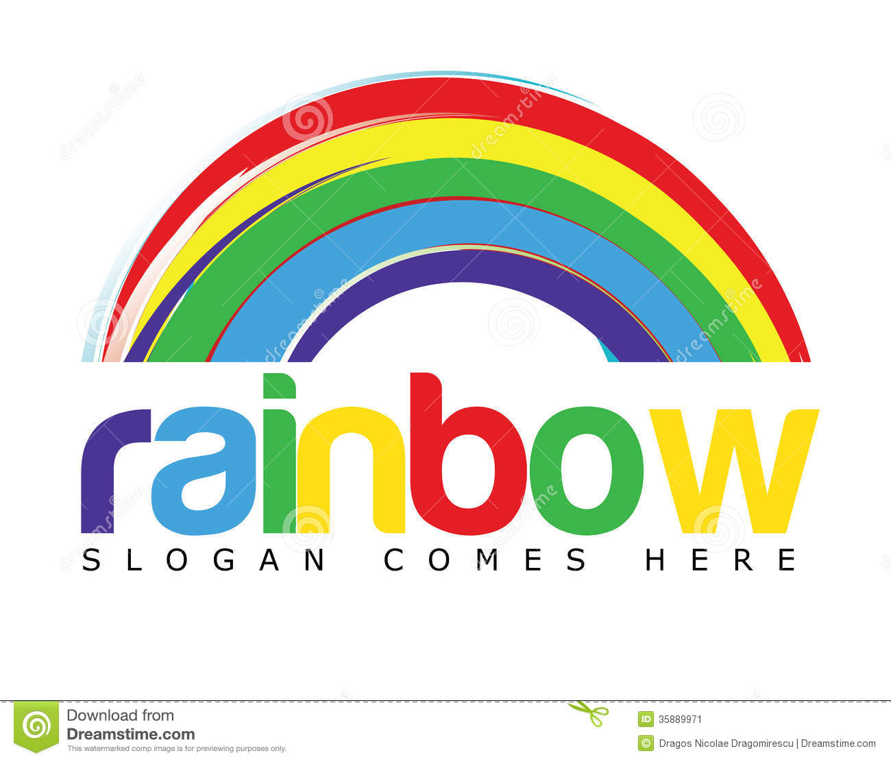 Vector logo template depicting a rainbow concept with colored text ...