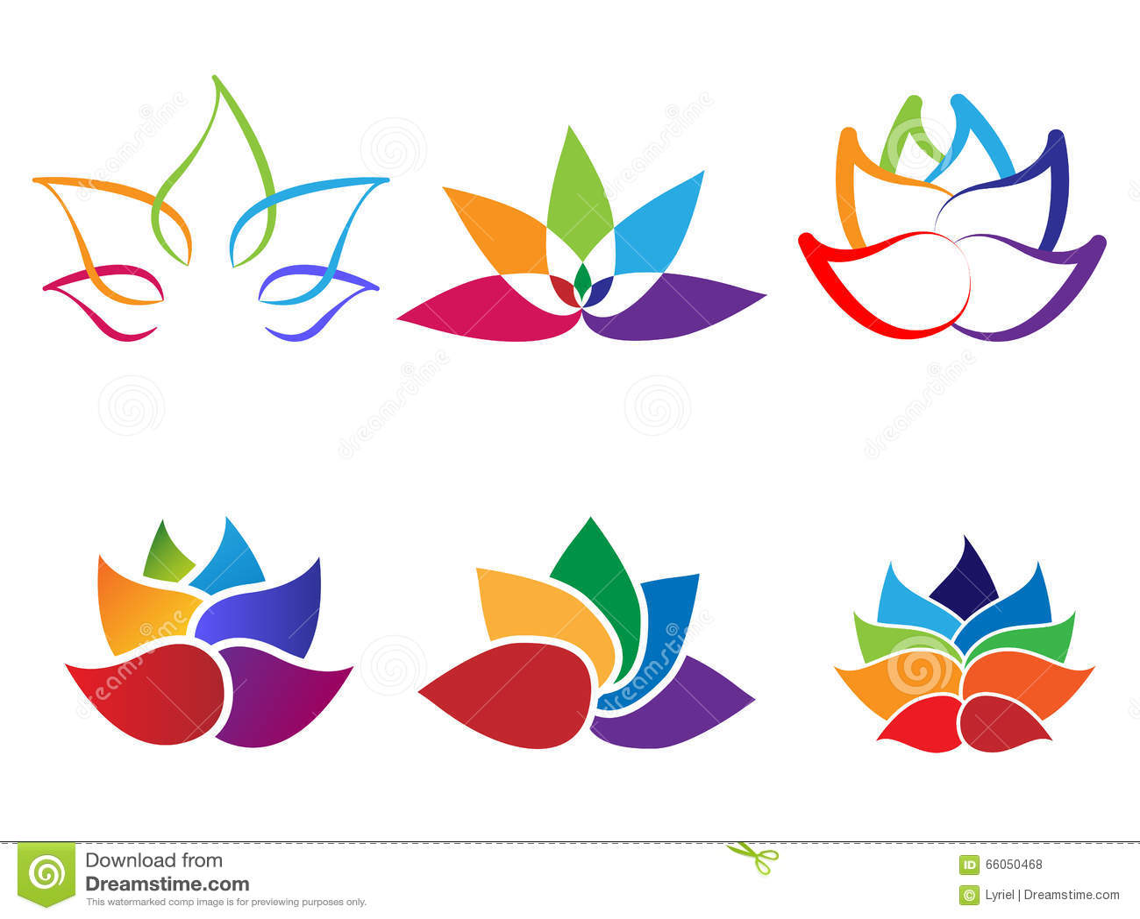 rainbow lotus flower abstract logo stock vector image