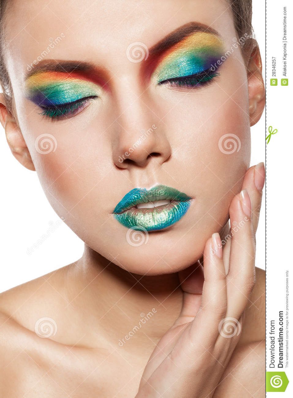 rainbow makeup stock image image of face brunette
