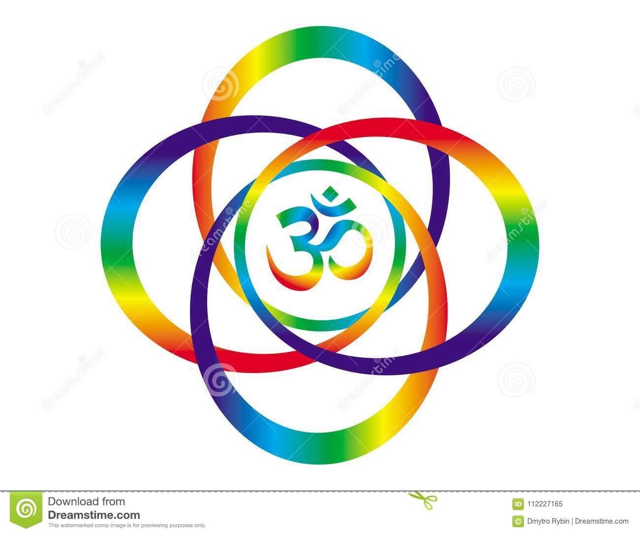 Rainbow Mandala With A Sign Of Aum / Om  Abstract Art Object