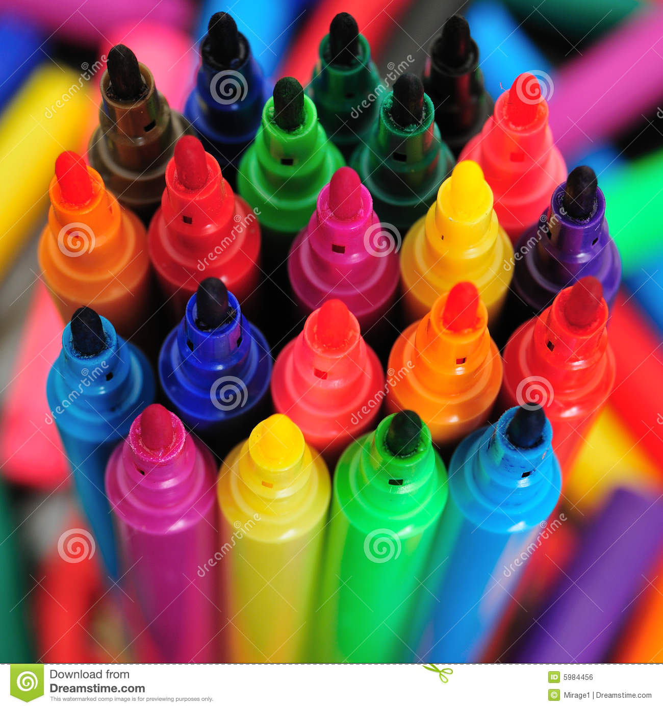 Rainbow marker pens stock photo  Image of closeup, mauve - 5984456