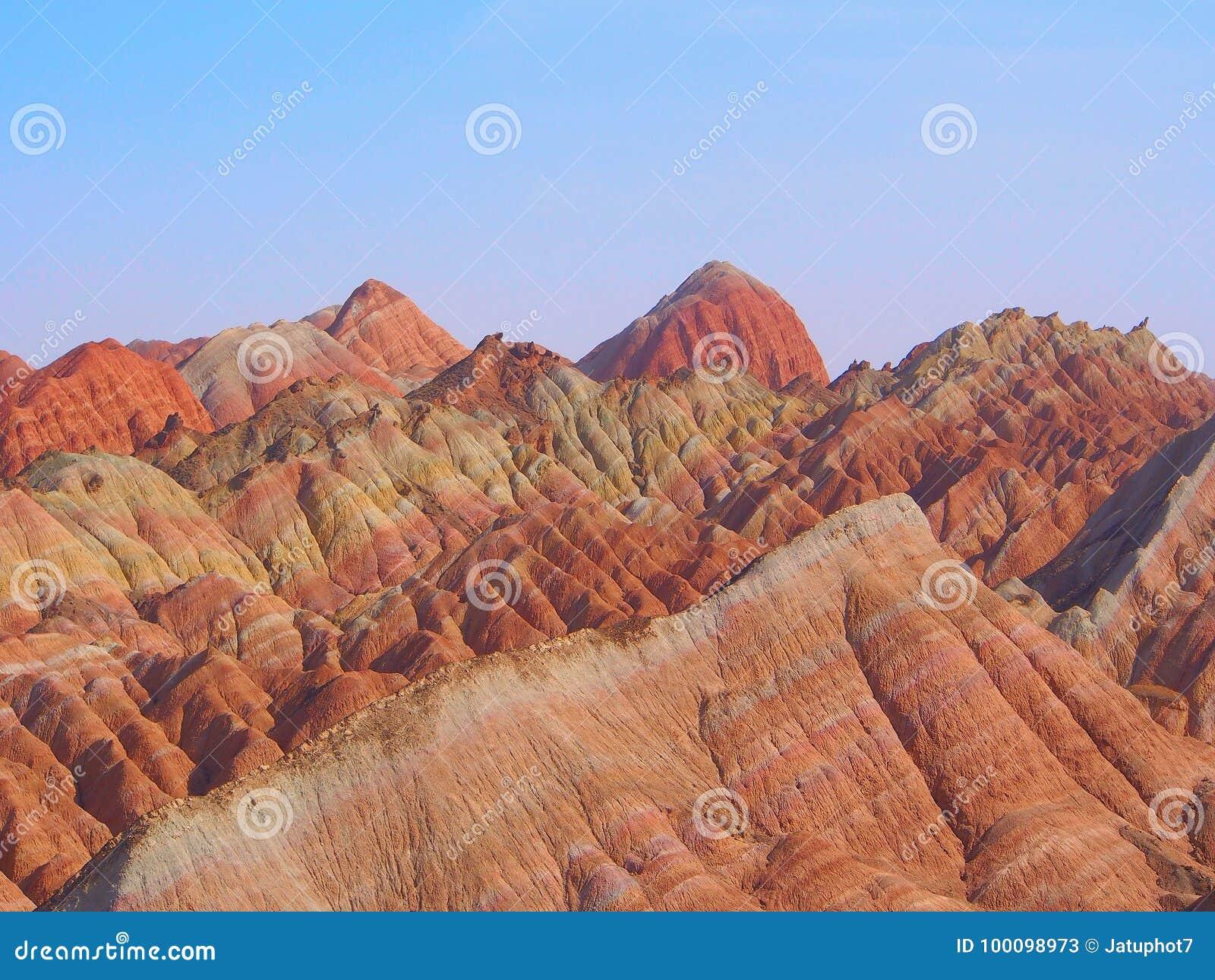 7ff3b33ce Rainbow Mountain Landform, Zhangye Danxia, Gansu , China Stock Image ...