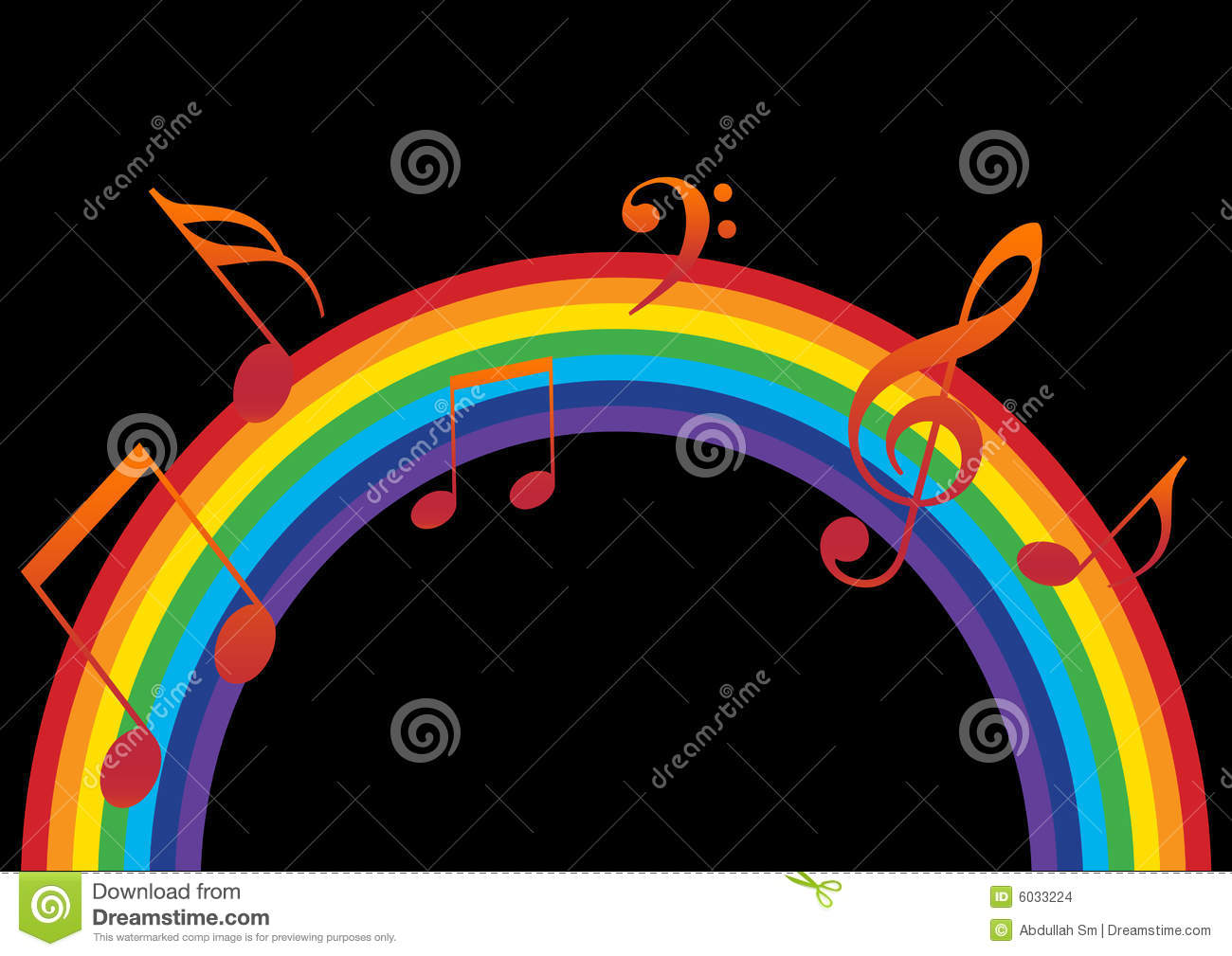 Rainbow Notes On Light Background Stock: Rainbow Music Stock Illustration. Illustration Of