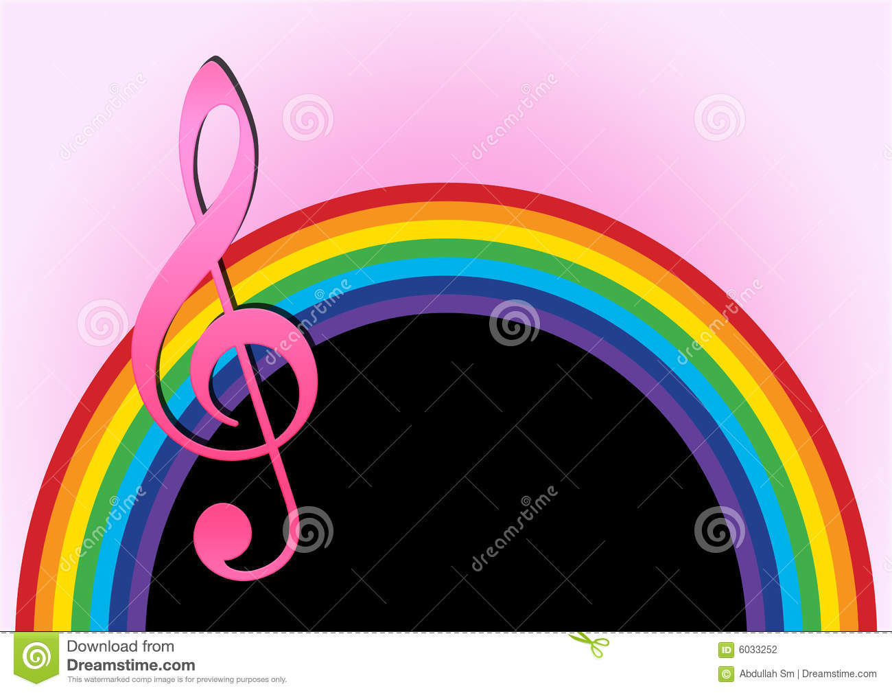 Rainbow Notes On Light Background Stock: Rainbow With Music Note Stock Illustration. Illustration