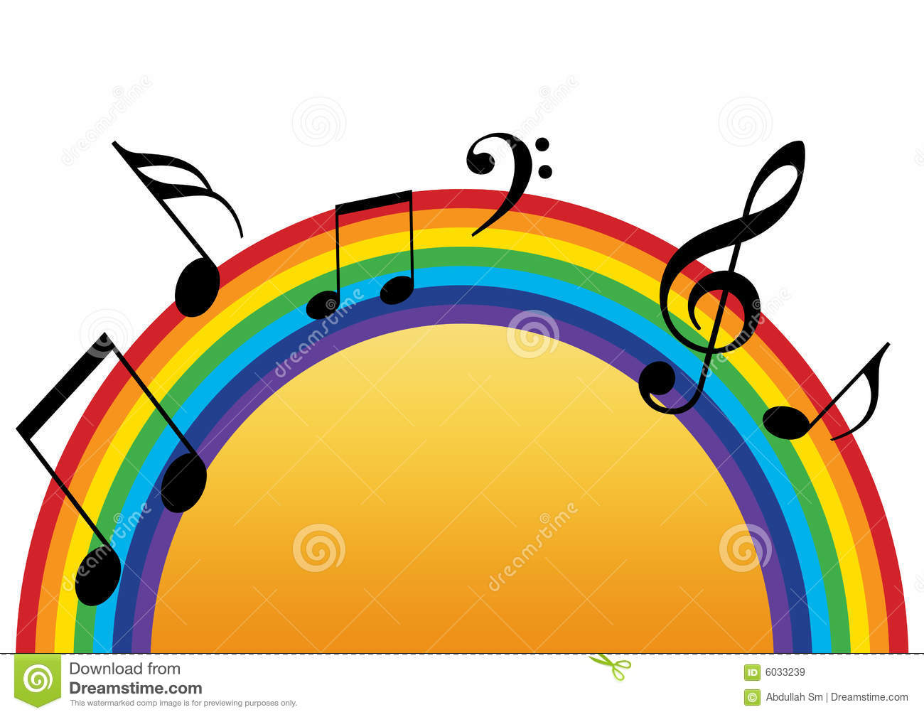 Rainbow Notes On Light Background Stock: Rainbow Music Sun Stock Illustration. Illustration Of