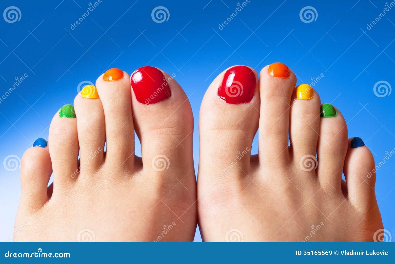 Rainbow Nail Polish Feet