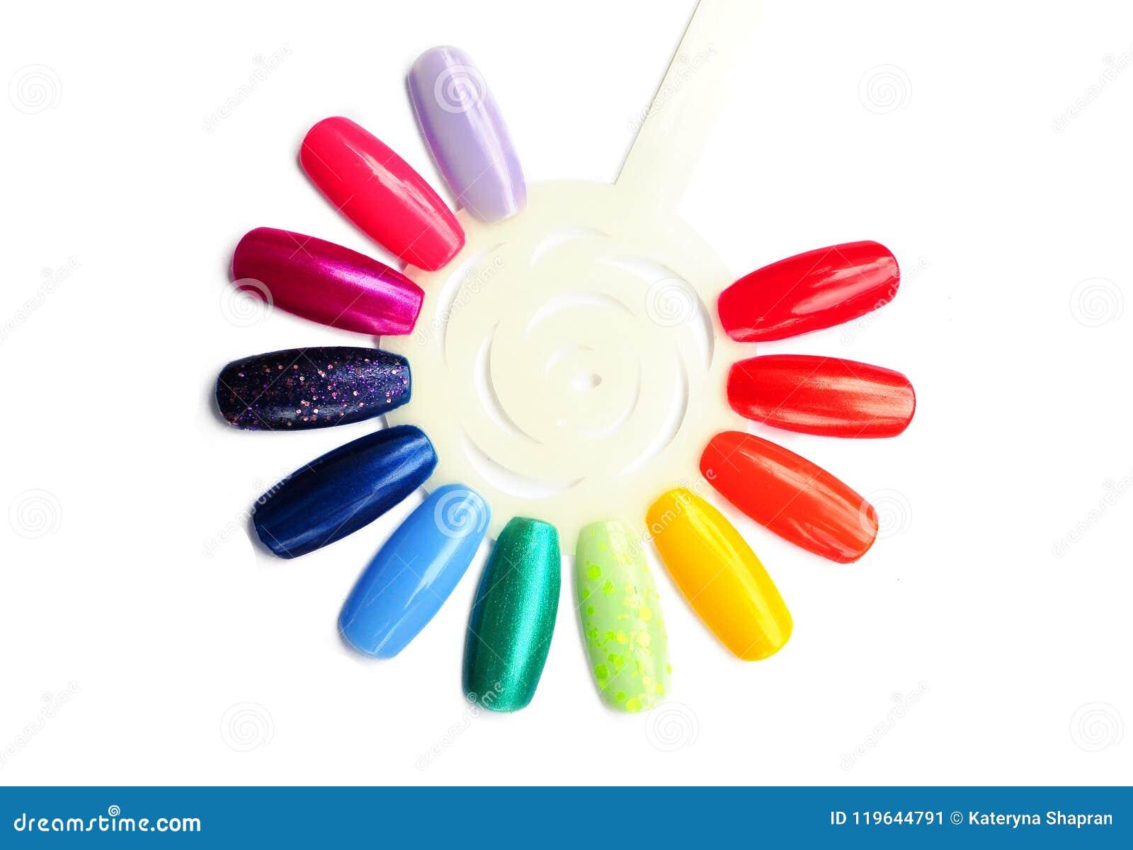 Rainbow Nail Polish Samples Close Up, Colorful Nail Polish In Ra ...
