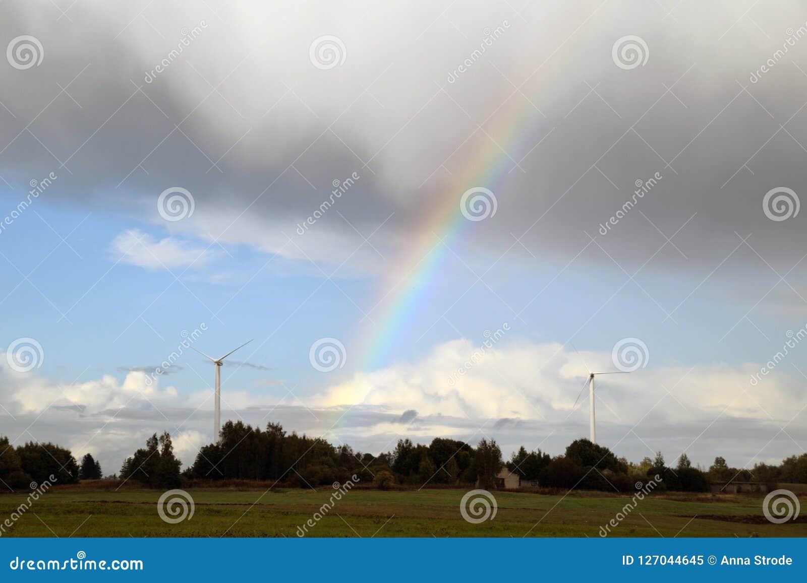 Rainbow Near The Energy Generators At Countryside  Stock