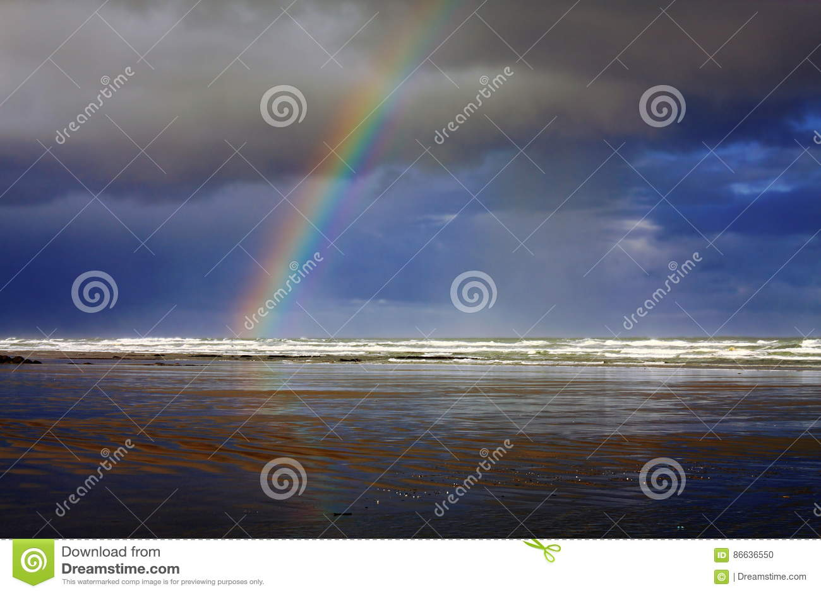 Rainbow At Nye Beach In Newport Oregon Stock Photo Image 86636550