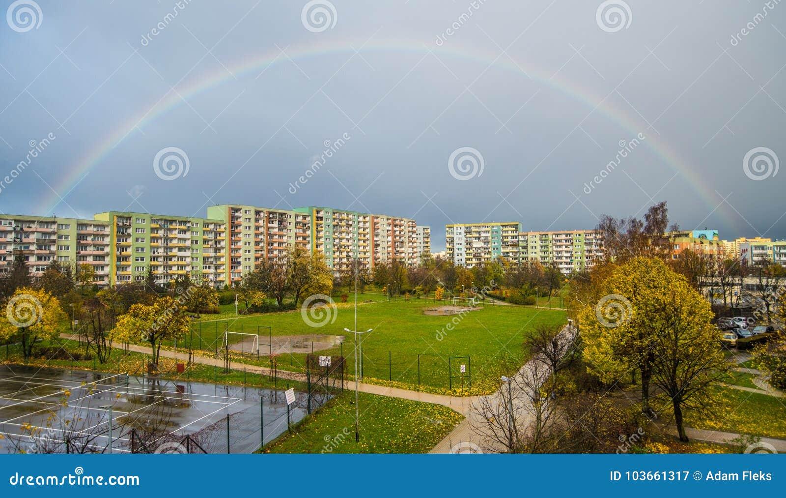 Rainbow Over Blocks Of Flats Editorial Photography - Image ...