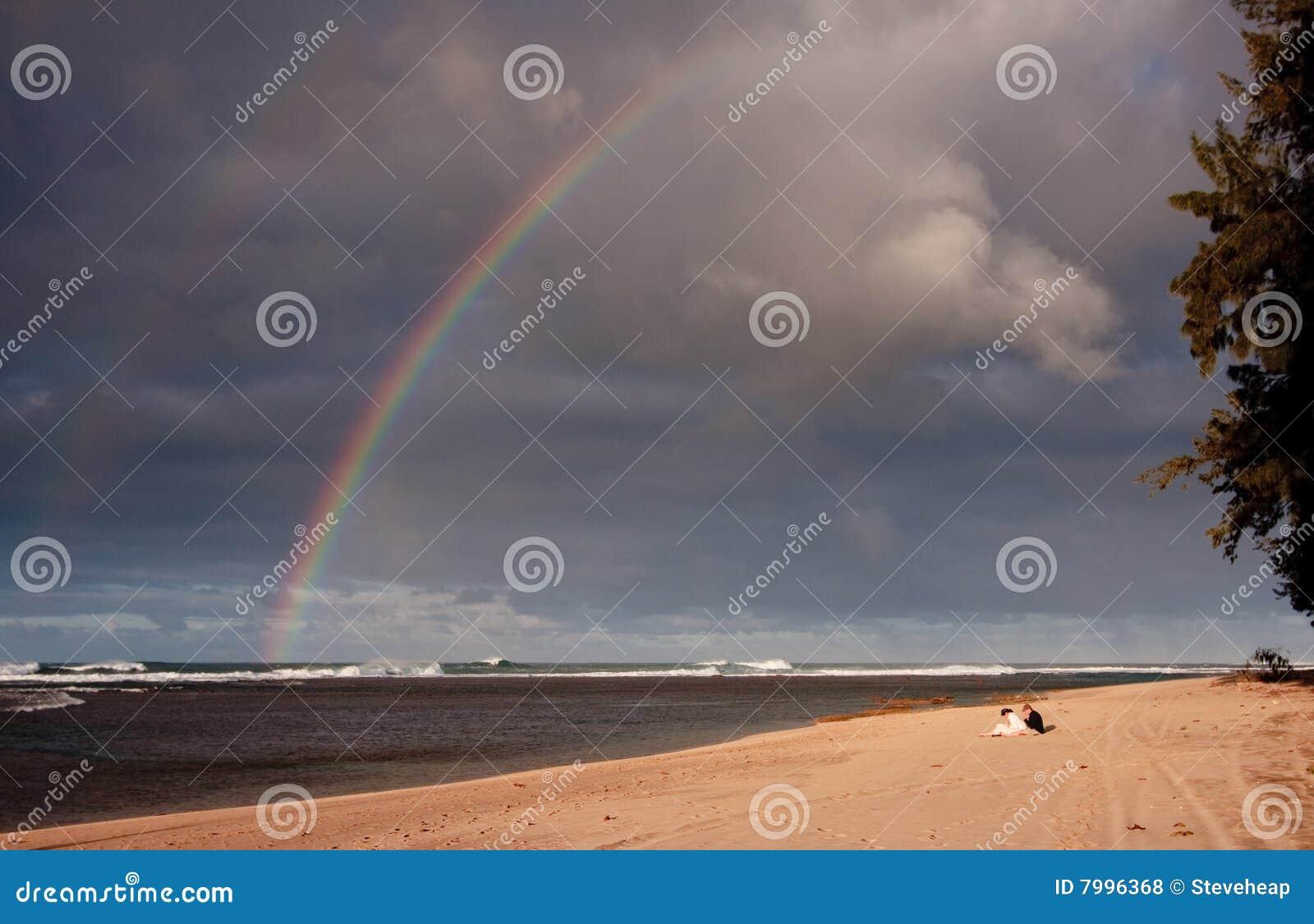 Rainbow over a broad sandy beach