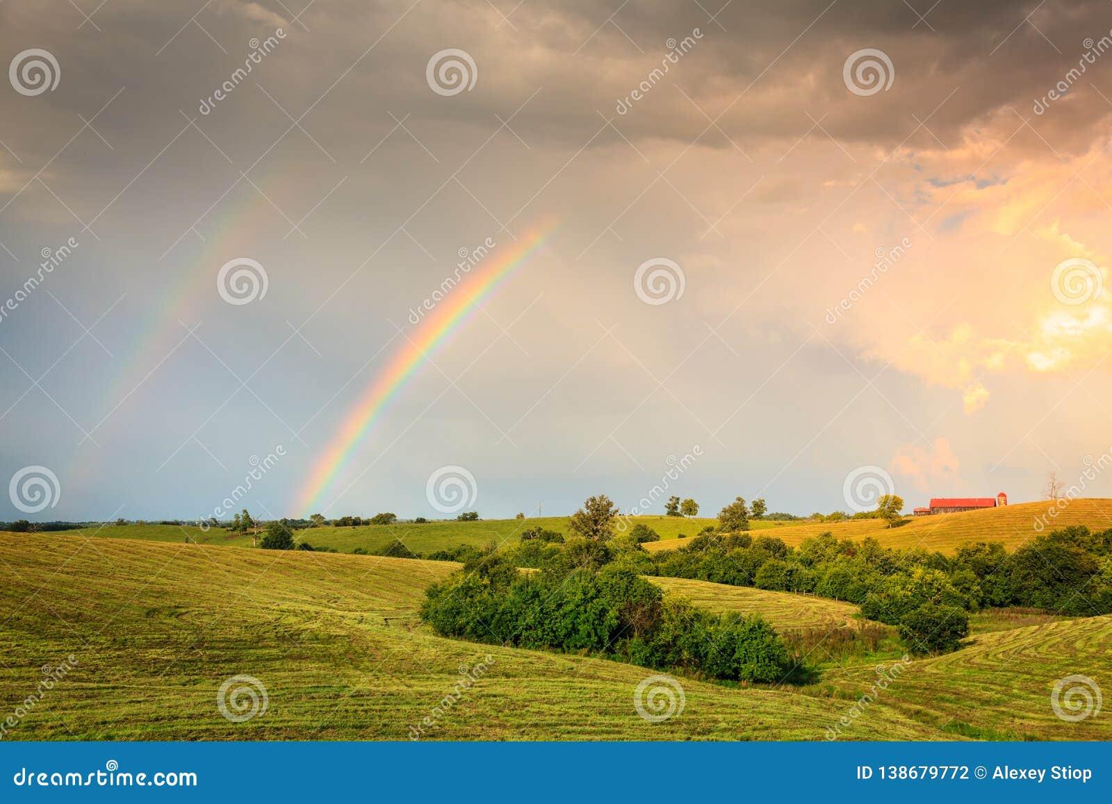 Rainbow over farmland in Central Kentucly
