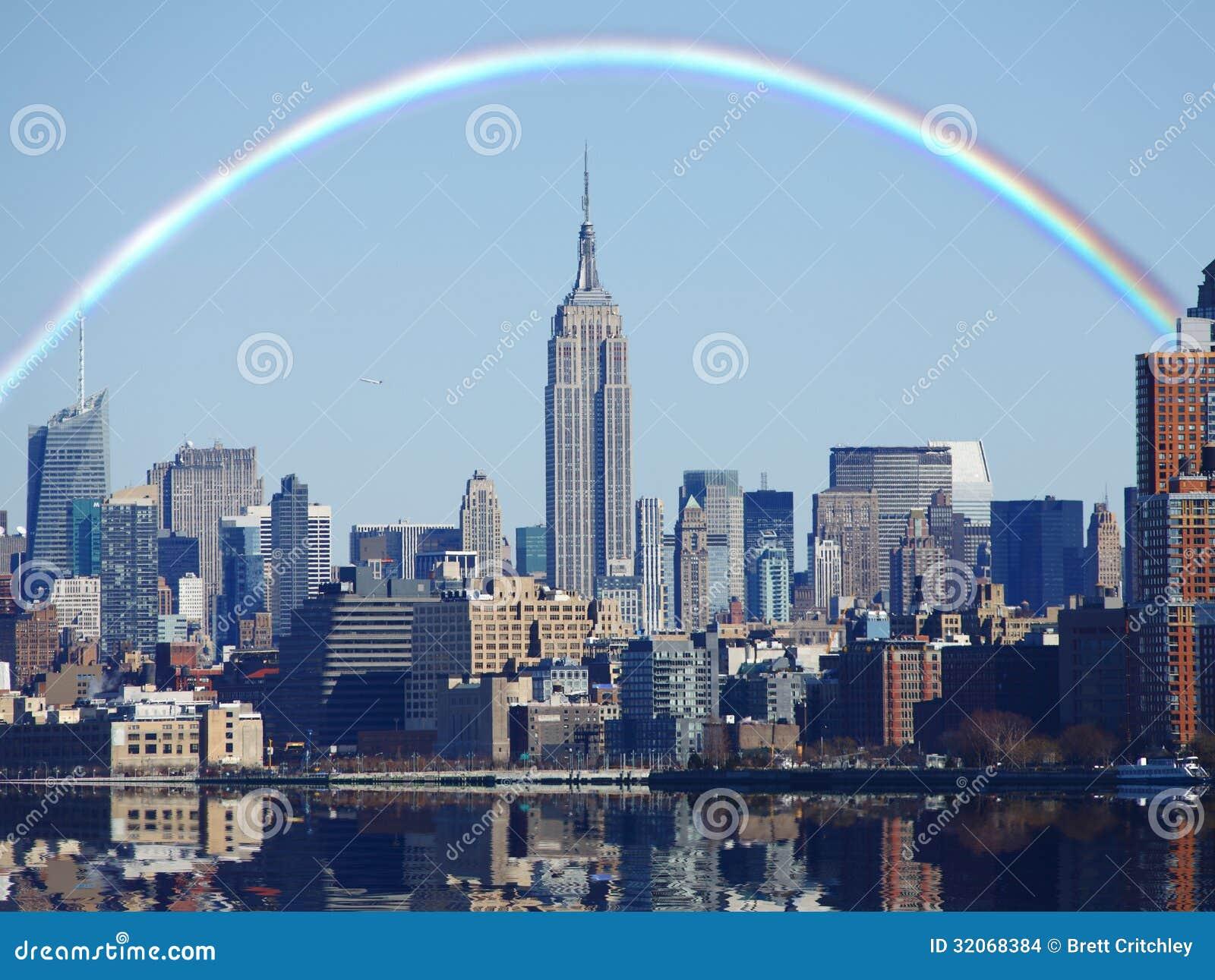 Rainbow over new york skyline stock photo image of cityscape