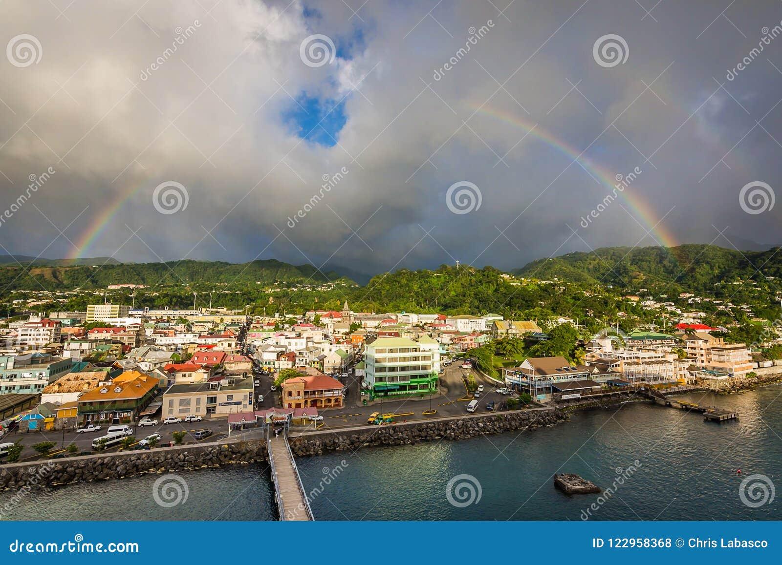 A rainbow over Roseau, Dominica
