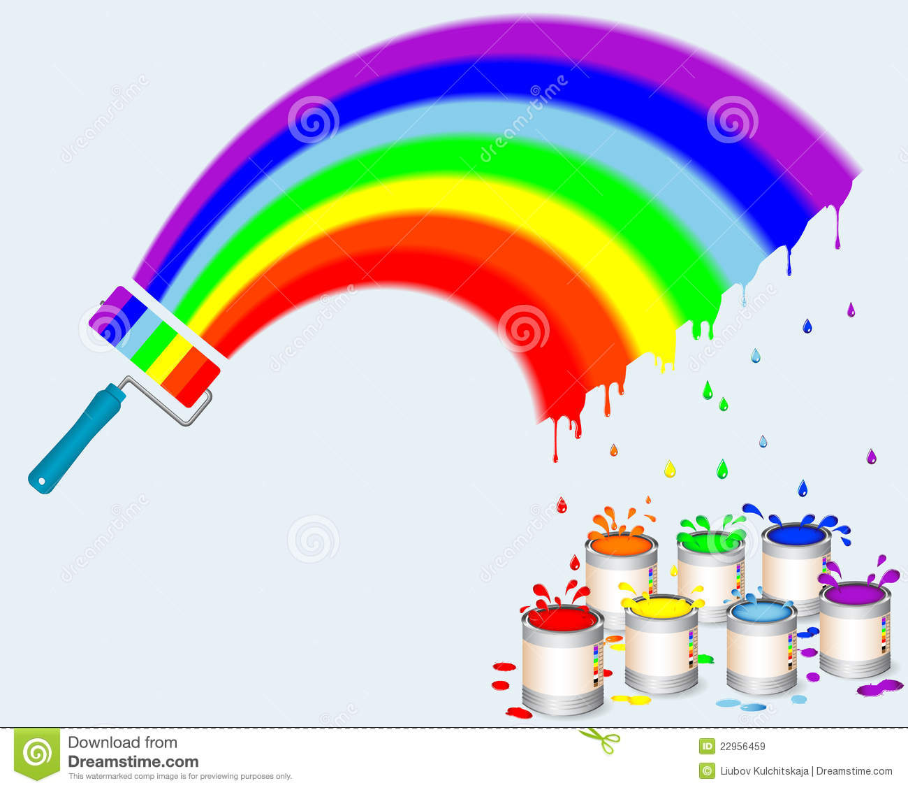 Rainbow paint roller with pots of paint and a drops, splash. Vector ...