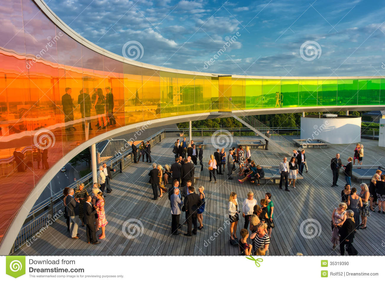 Aarhus, Denmark – August 23, 2013: Conference participants mingle ...