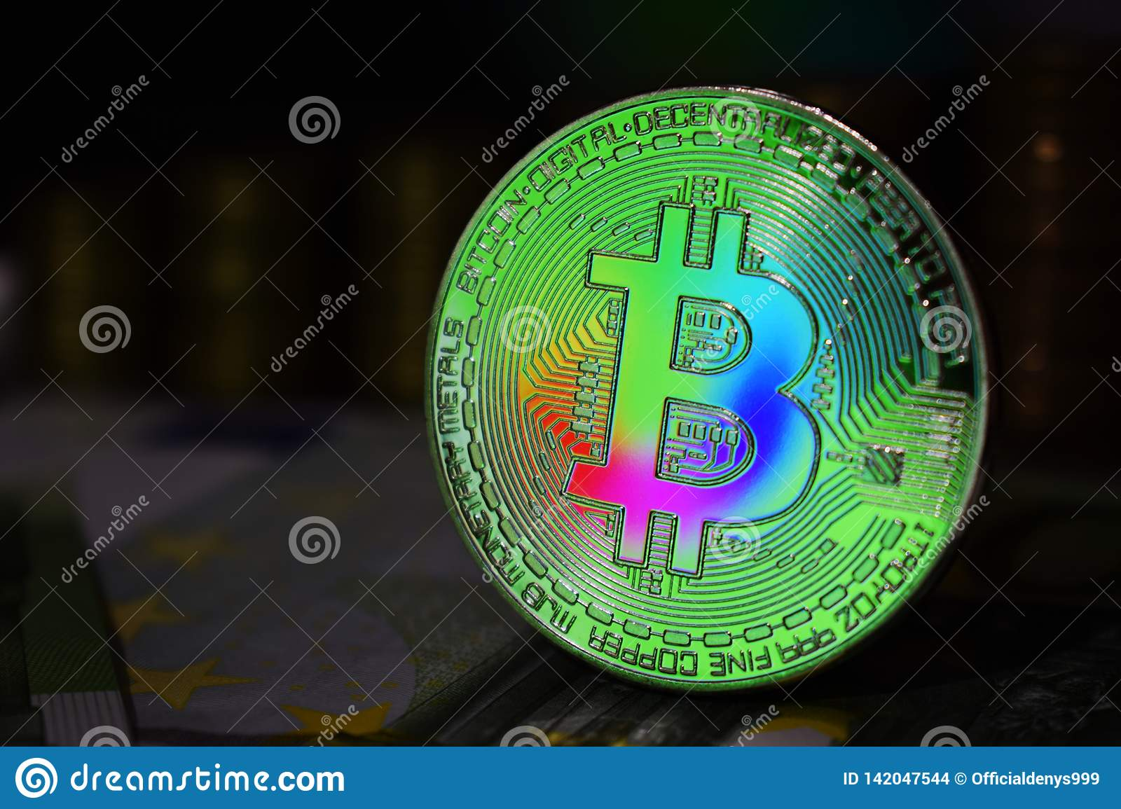 The rainbow physical bitcoin coin is BTC, preferably color green.