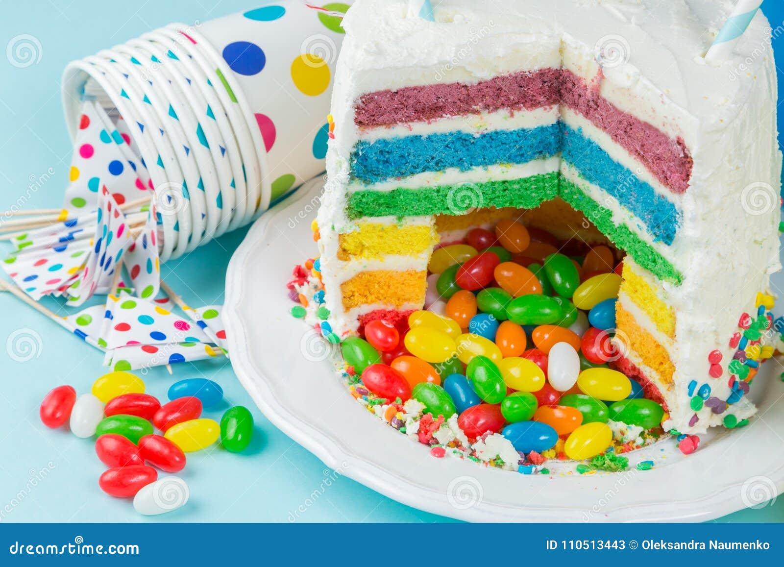 Surprising Rainbow Pinata Cake With Candies Birthday Background Card Funny Birthday Cards Online Benoljebrpdamsfinfo