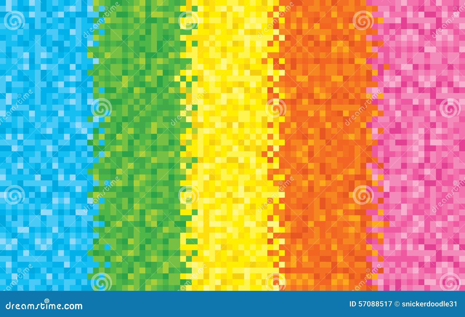 rainbow pixel background stock vector