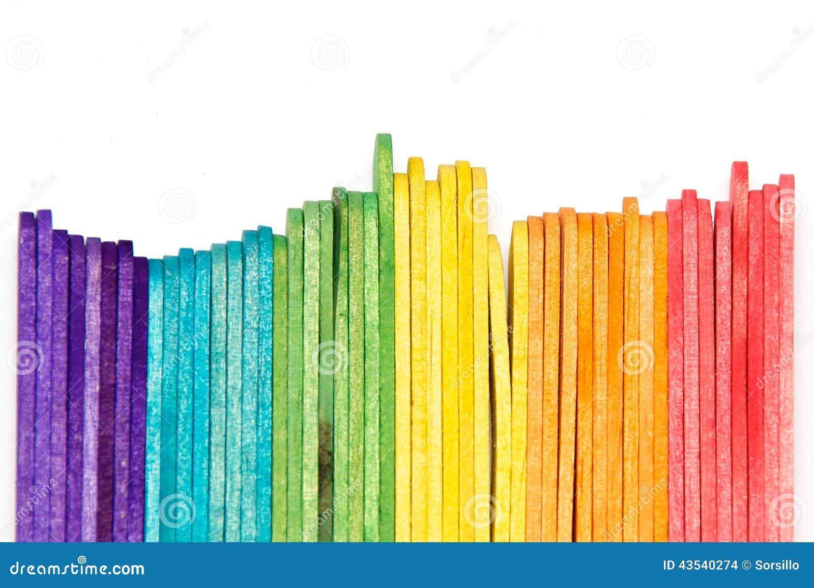Rainbow Popsicle Sticks On Edge Stock Photo Image Of