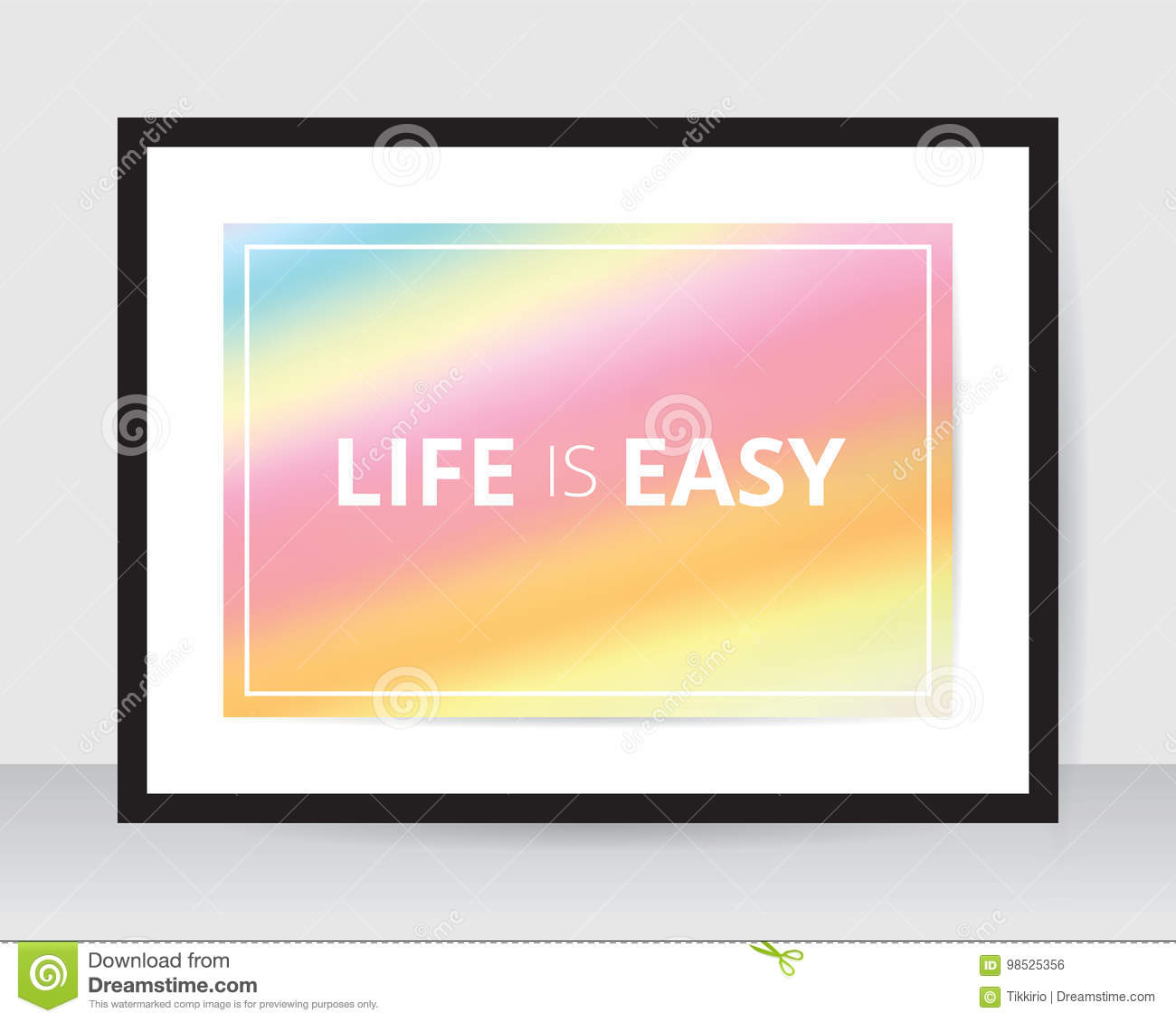 rainbow poster template pink blur background on white paper black