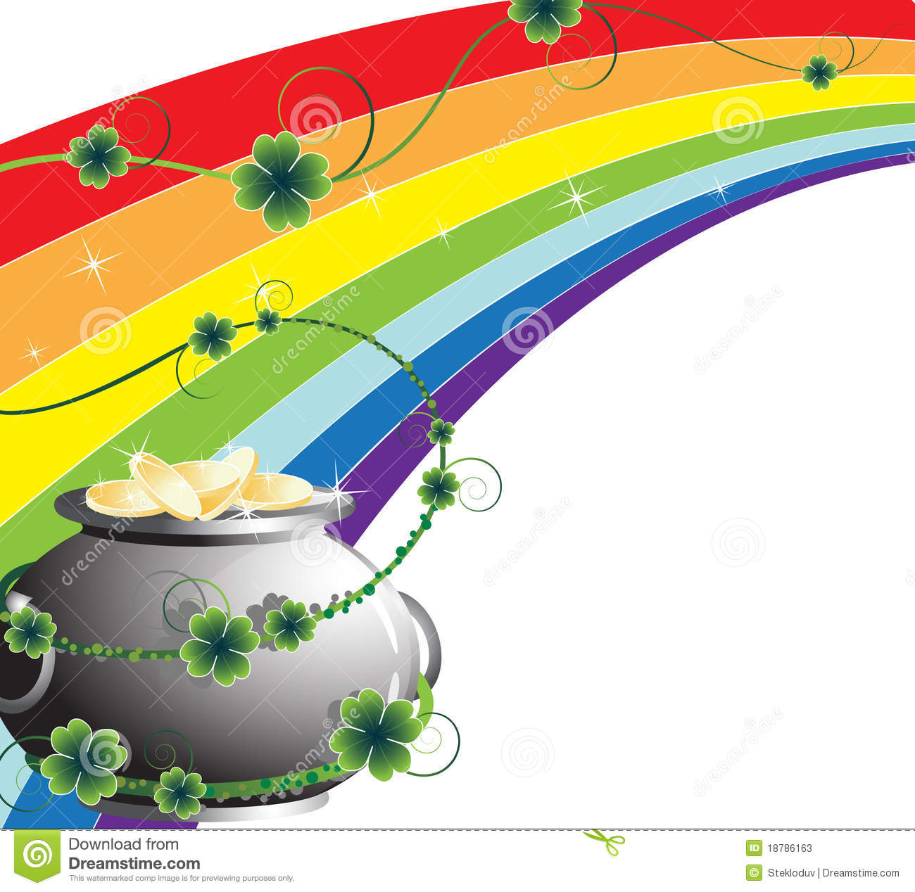 Rainbow And Pot With Gold Stock Vector Illustration Of Golden