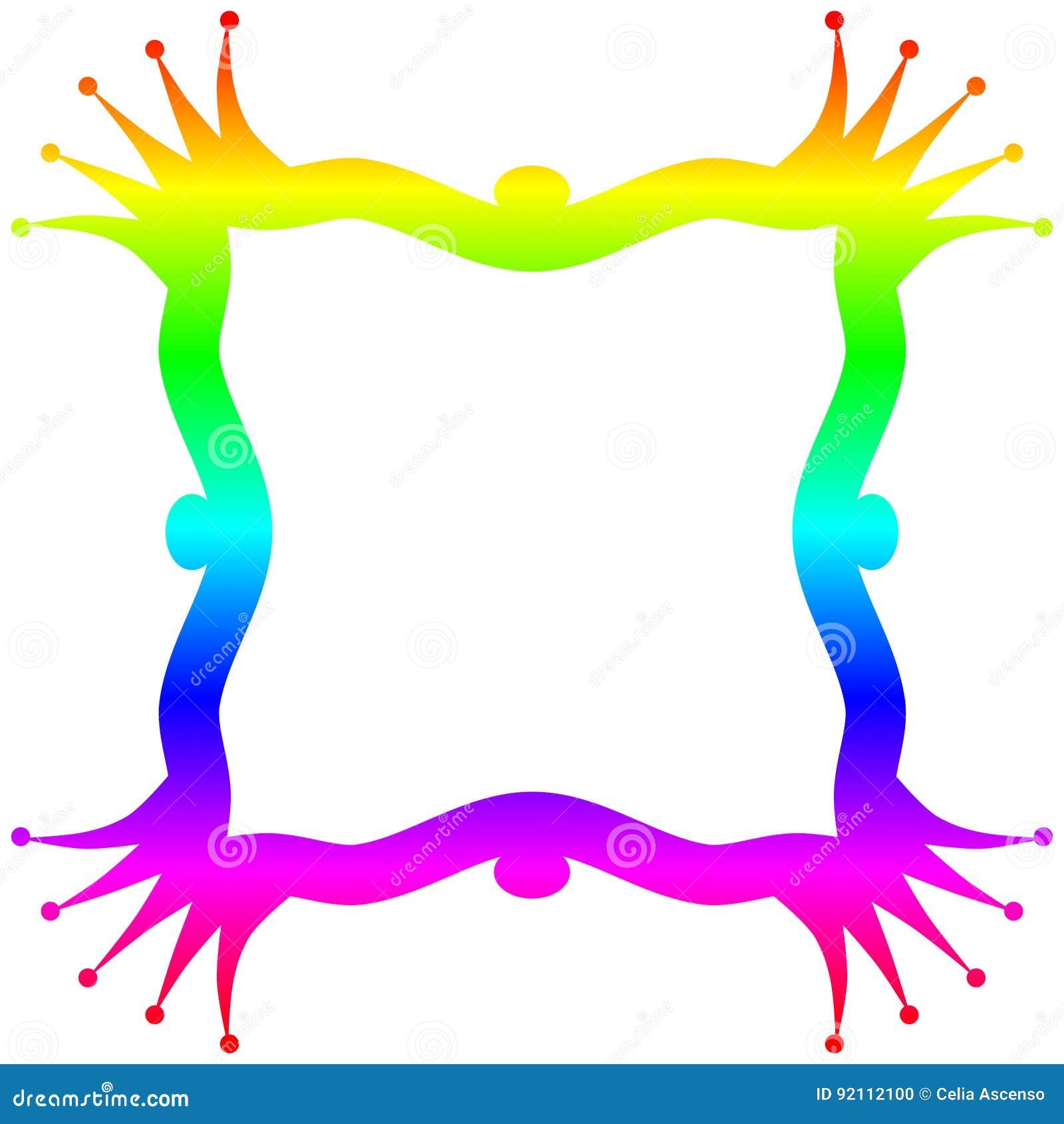 Rainbow princess frame border frame
