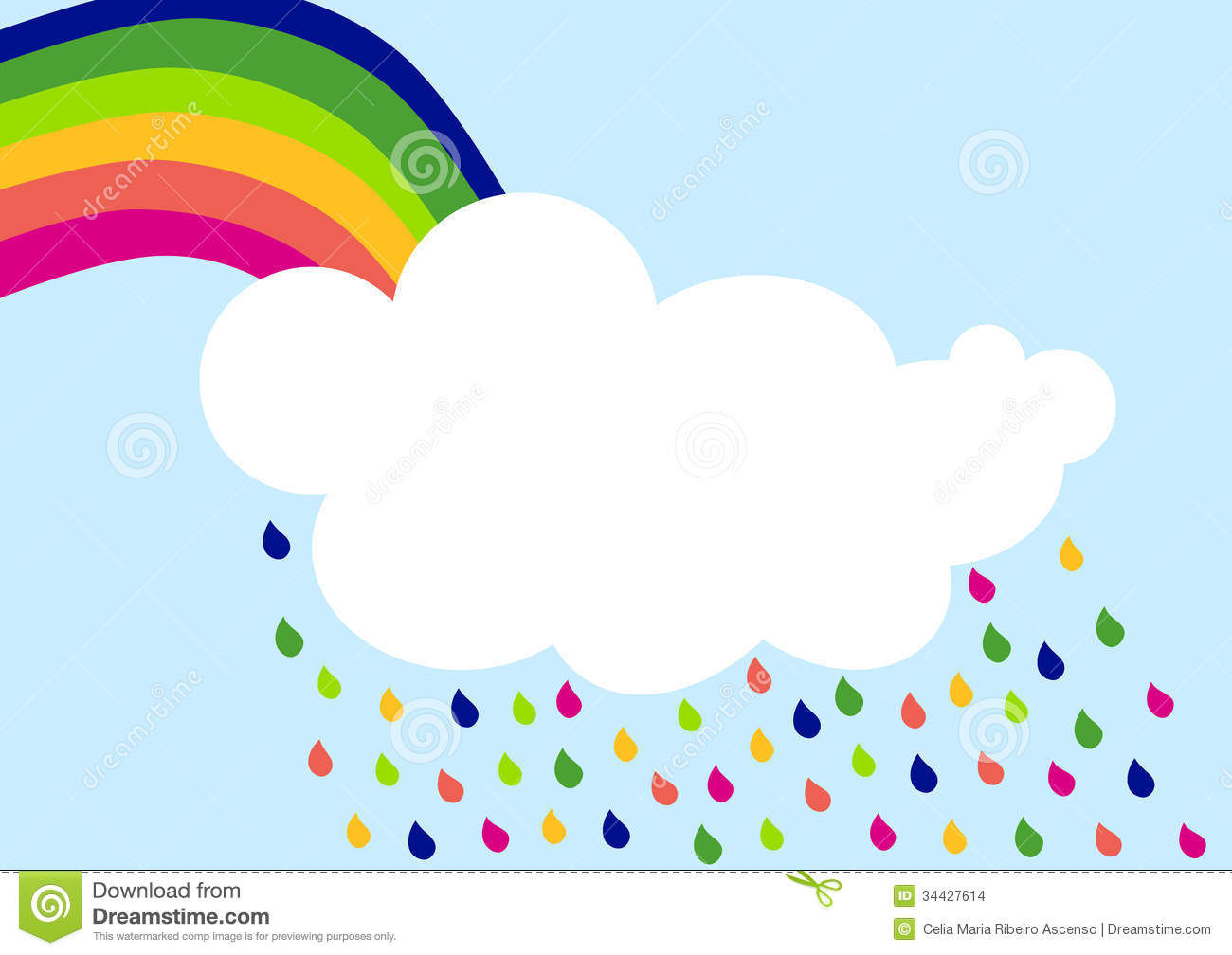 Rainbow Rain Cloud Invitation Card Stock Illustration - Illustration of greeting, cold: 34427614