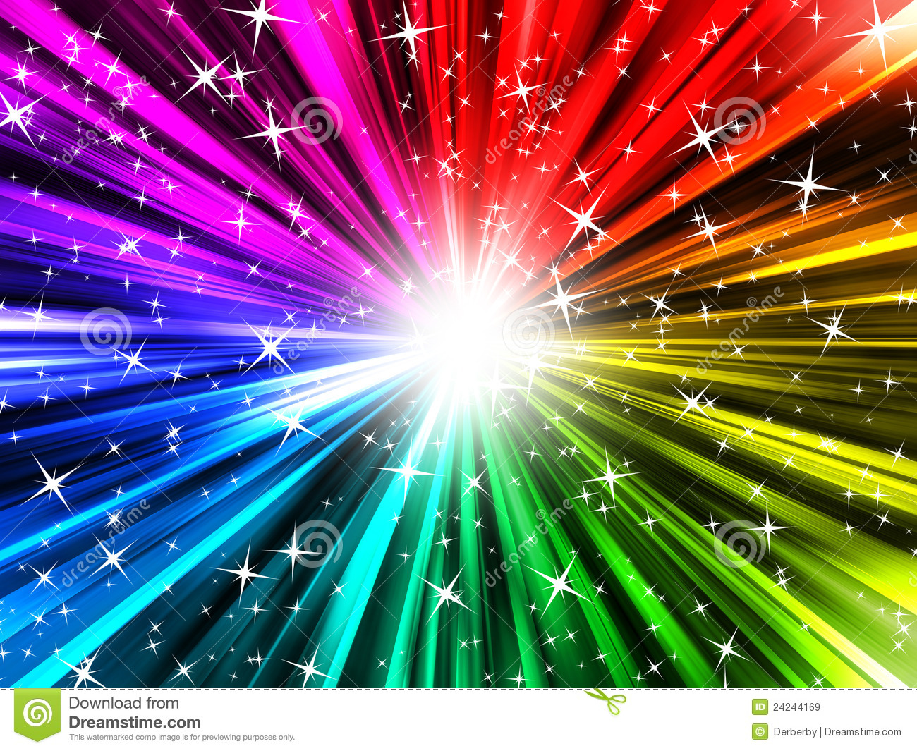 Rainbow Rays And Stars Royalty Free Stock Images - Image: 24244169