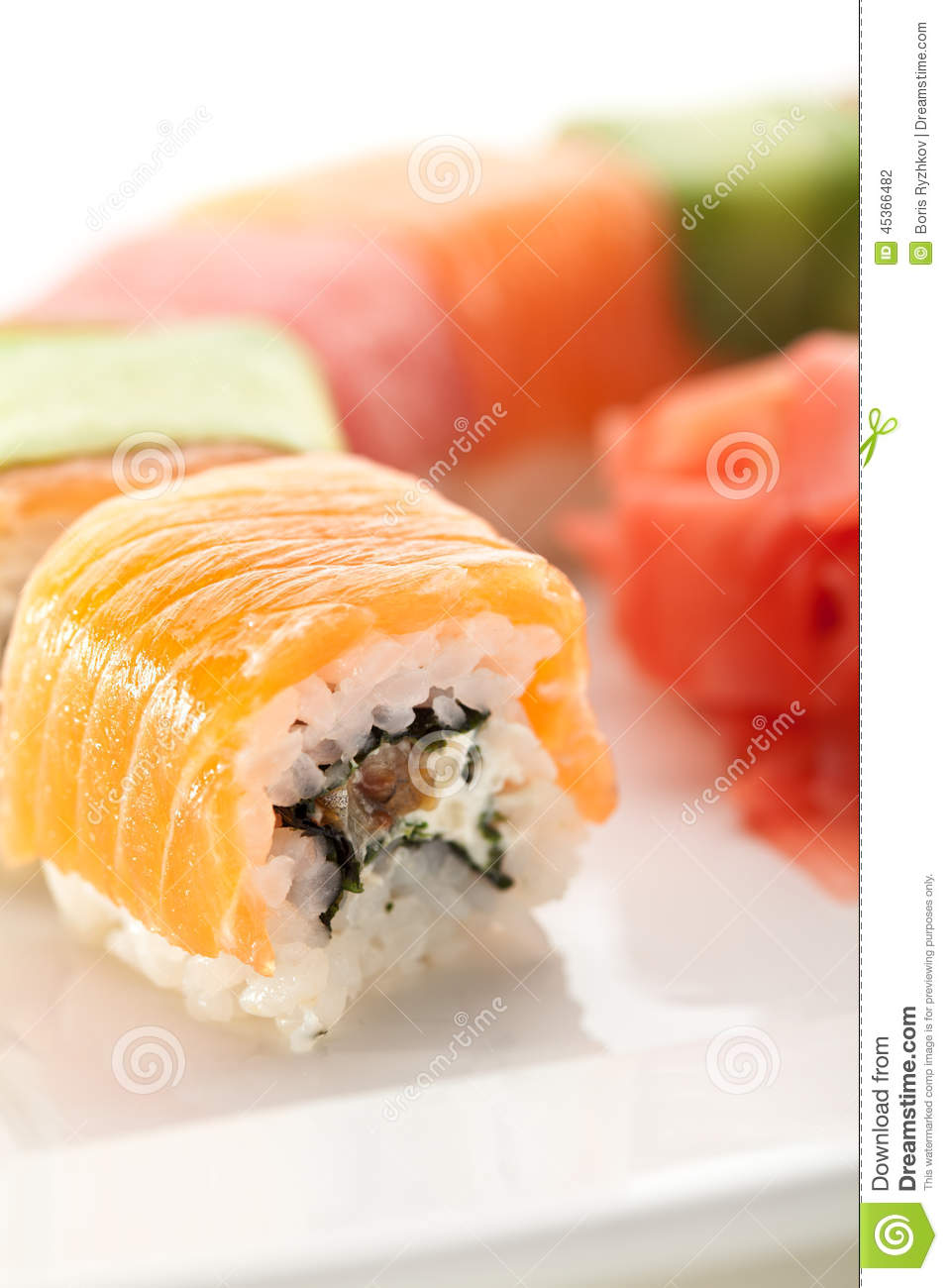 Maki Sushi - Roll with Eel and Cream Cheese inside. Tuna, Salmon ...