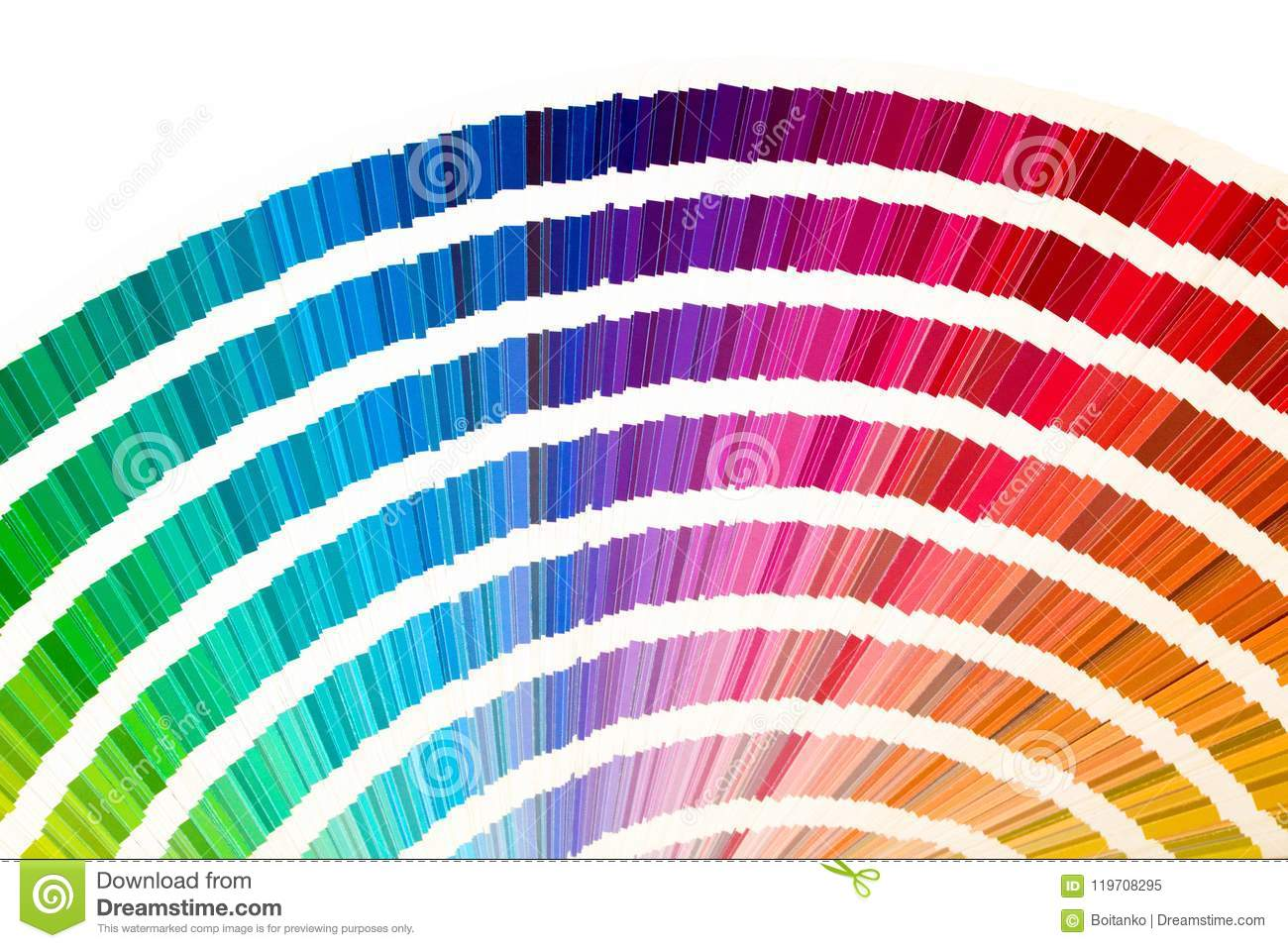 rainbow sample colors catalogue in many shades of colors or spectrum