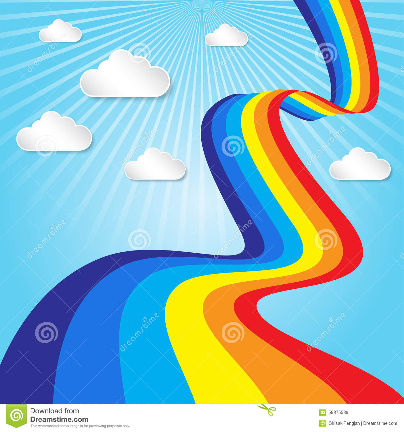rainbow sky with clouds cartoon background royalty free stock