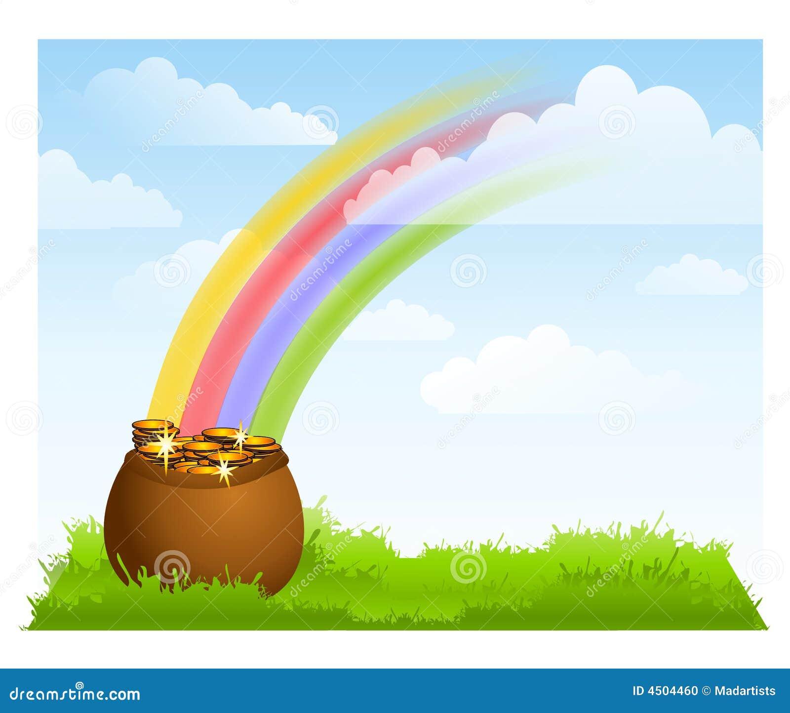 Rainbow Sky Pot Of Gold Background Stock Photo - Image: 4504460