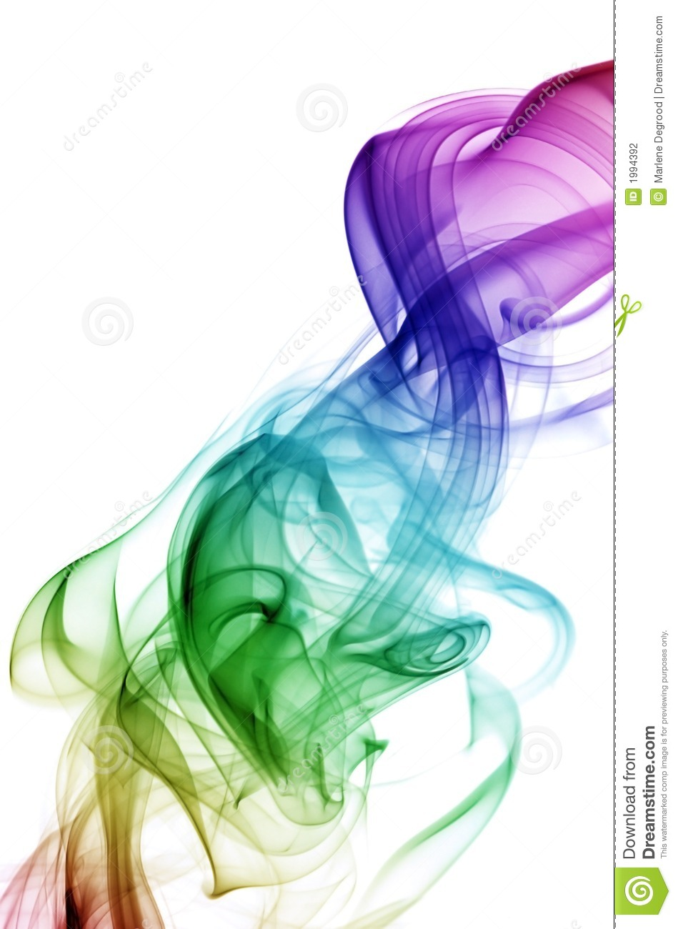 Diagonal flowing smoke in rainbow colors against white background.
