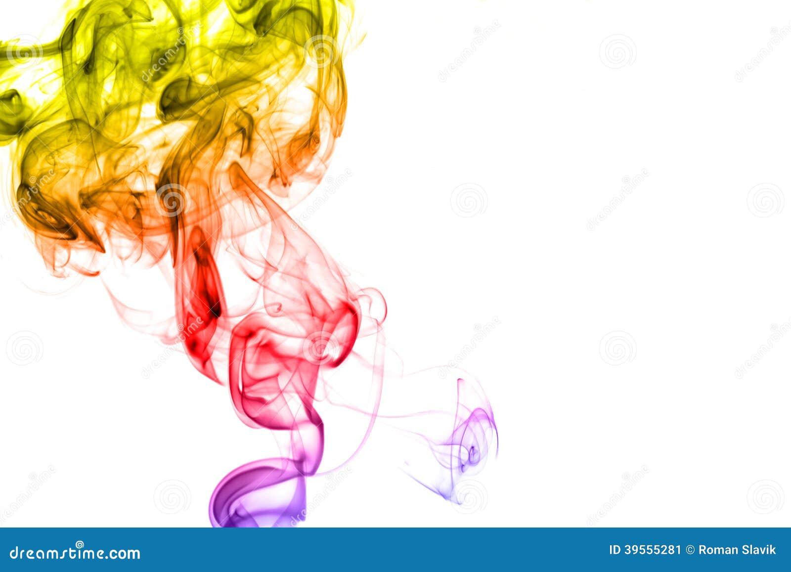 rainbow smoke isolated on white background stock image