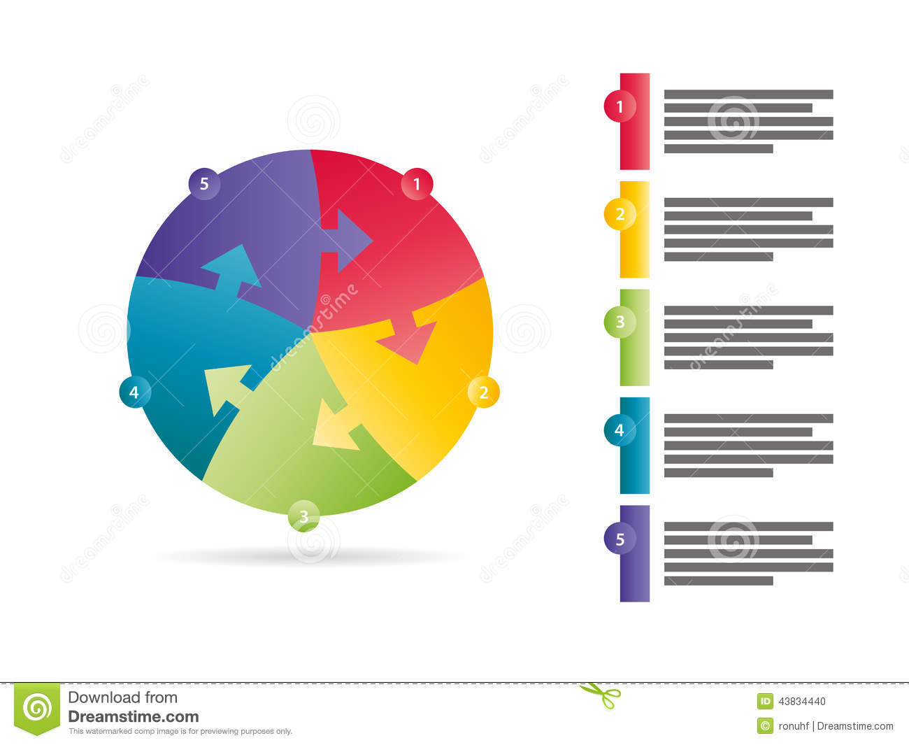 Rainbow spectrum colored five sided arrow puzzle presentation infographic vector graphic template with explanatory text field