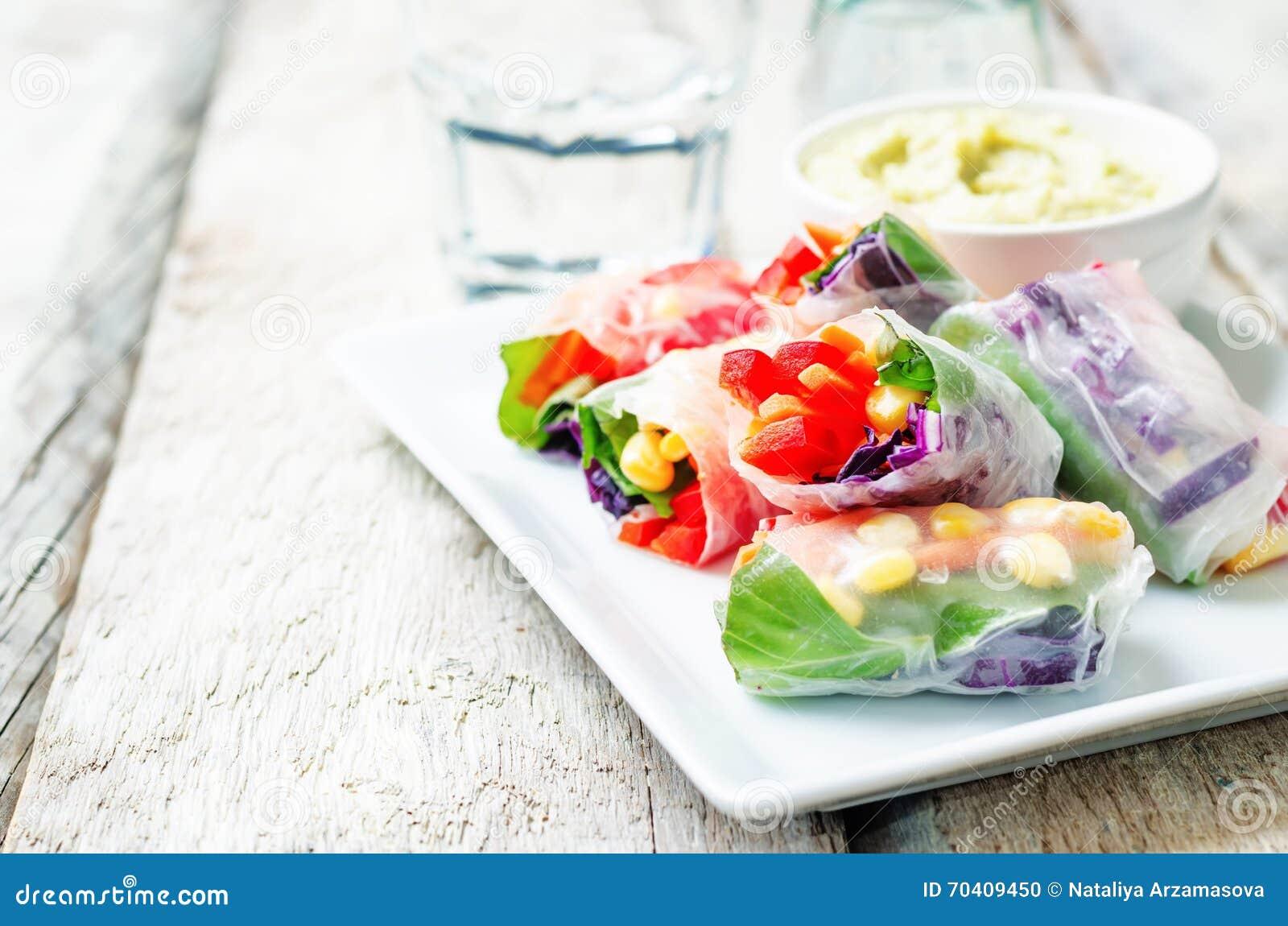 Rainbow Spring Rolls With Avocado White Bean Hummus Stock ...