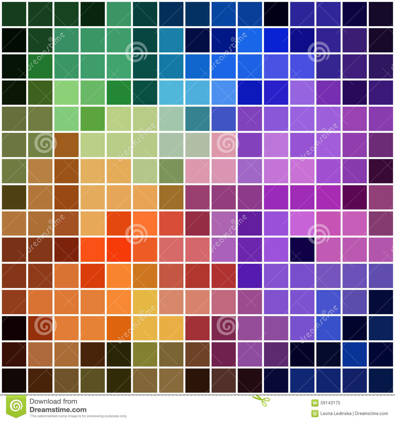 Rainbow Square Mosaic With Bright Colors Stock Vector