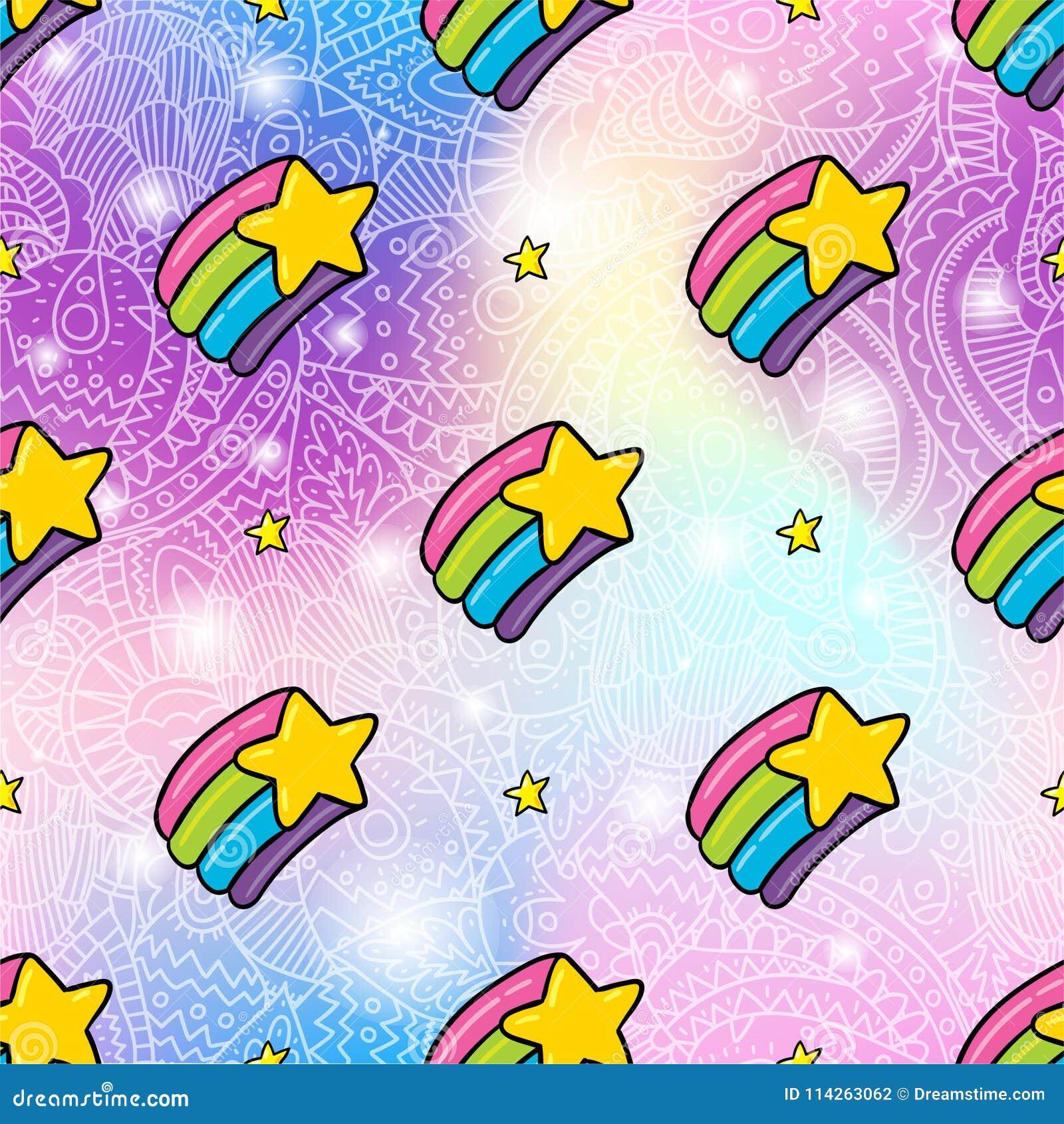 Rainbow star seamless pattern background