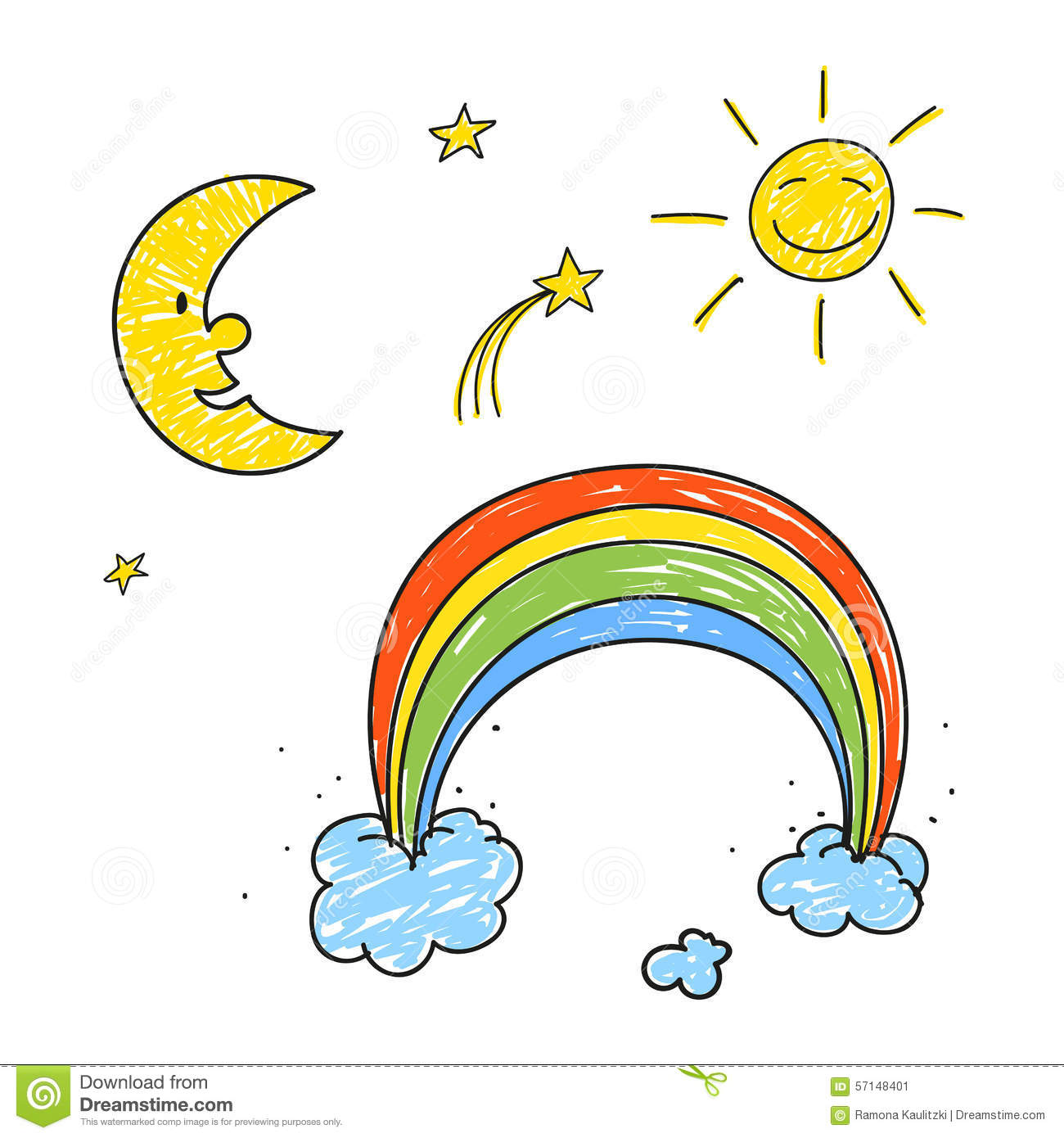 Rainbow stars sun and moon stock illustration illustration of rainbow stars sun and moon biocorpaavc Images