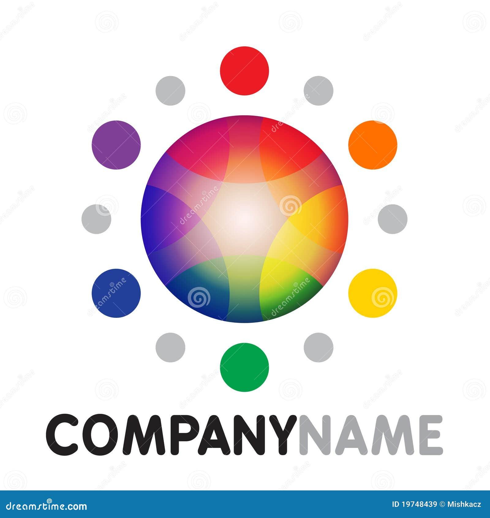 Rainbow sun icon and logo design